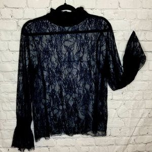 H&M black sheer lace flounce sleeve nigh neck top
